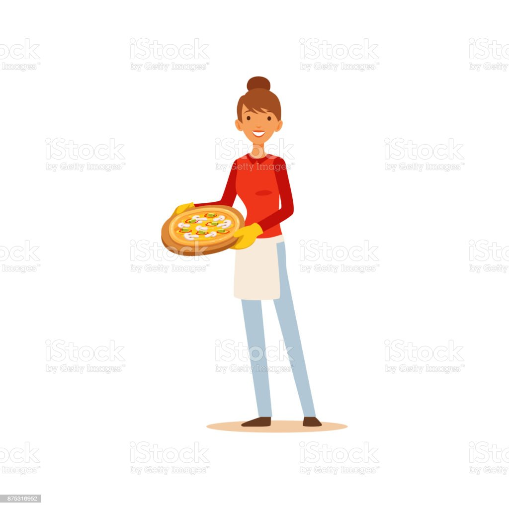 Young woman holding a pizza, housewife girl cooking food in the kitchen flat vector Illustration vector art illustration