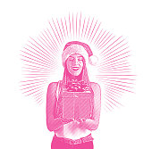 Vector engraving of a Young woman holding Christmas present