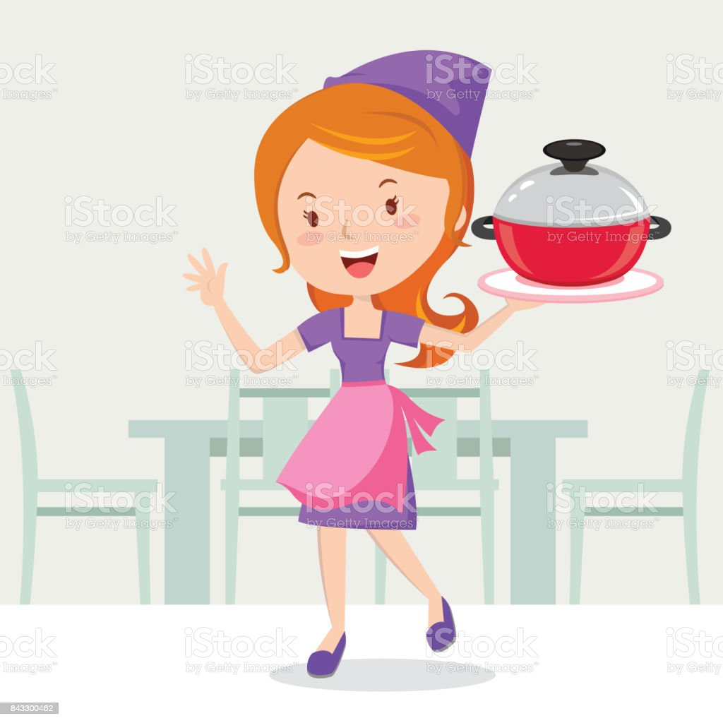 Young woman holding cooking pot vector art illustration