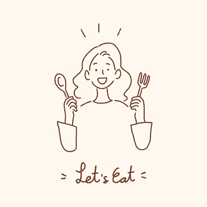 Young woman holding spoon and fork with Let's Eat handwritten lettering, eating dining concept, hand-drawn style vector illustration.
