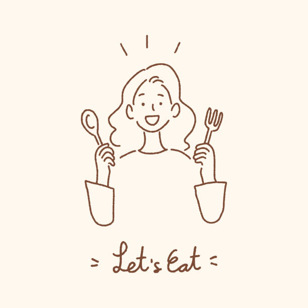 young woman holding spoon and fork with let's eat handwritten lettering, eating dining concept, hand-drawn style vector illustration. - woman cooking stock illustrations