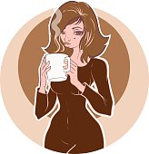 young woman holds a cup of coffee or tea. Vintage coffee illustration