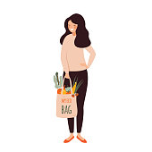 Young woman holds eco cotton bag full of Fresh vegetables in her hands . Zero waste vector illustration
