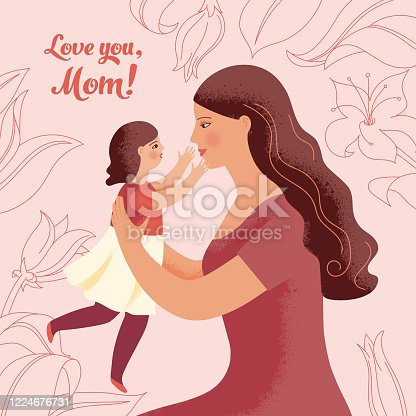 istock Young woman holds her little daughter in her arms 1224676731