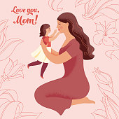istock Young woman holds her little daughter in her arms 1224676753