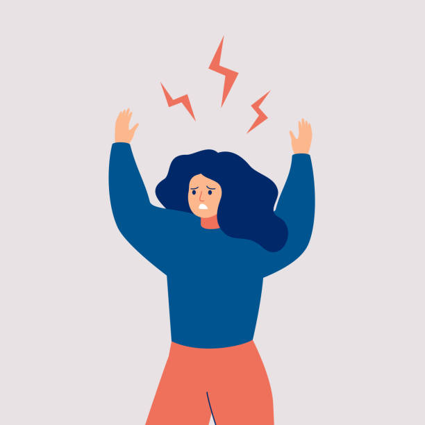 A young woman holds up her hands and screams in rage. A young woman holds up her hands and screams in rage. Angry girl with flying lightnings over her head isolated on white background. Vector agitation stock illustrations