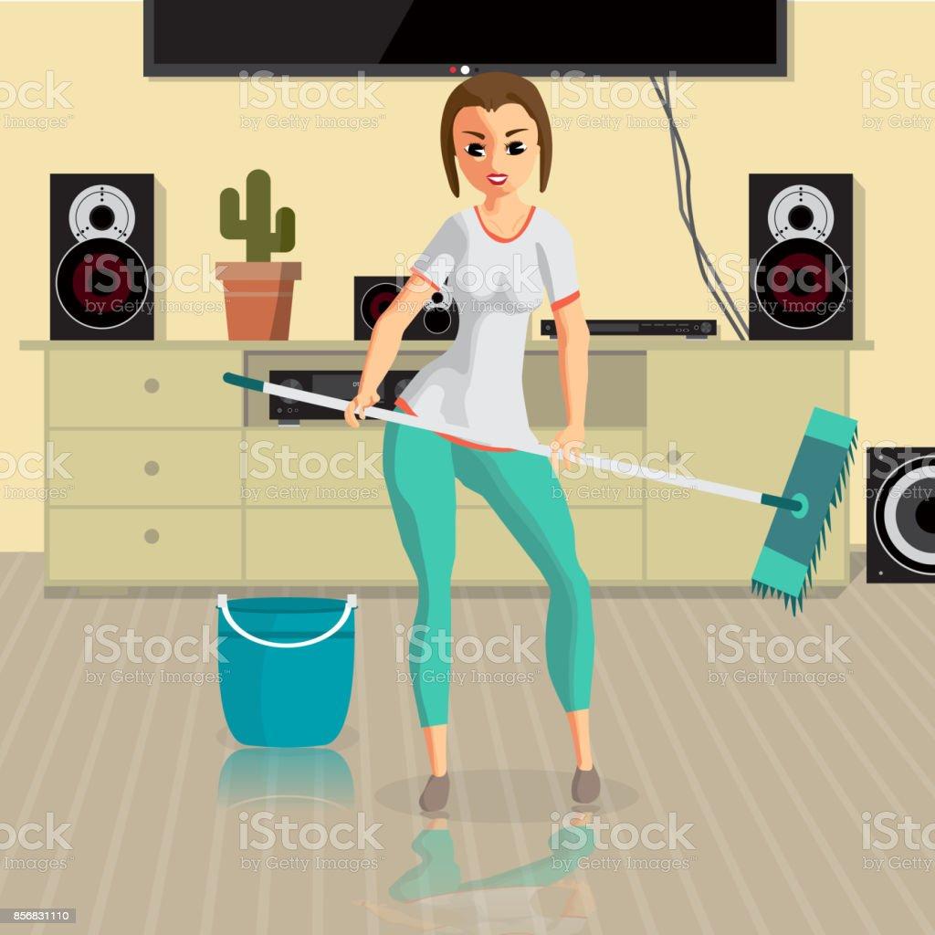 Junge Frau Hausfrau Wäscht Einen Etage Mop Im Zimmer Stock Vektor ...