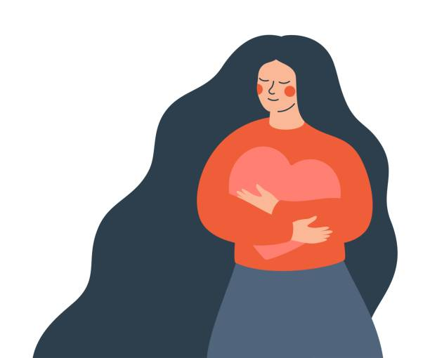 Young woman hugs a big heart with love and care. Young woman hugs a big heart with love and care. Girl with long hair holds pink heart in her hands. Self care and body positive concept. body positive stock illustrations