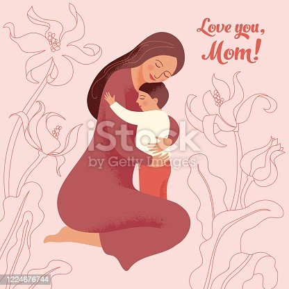 istock Young woman hugs her little son 1224676744