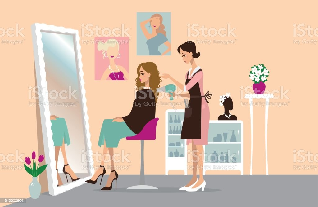 Young woman in a beauty salon vector art illustration