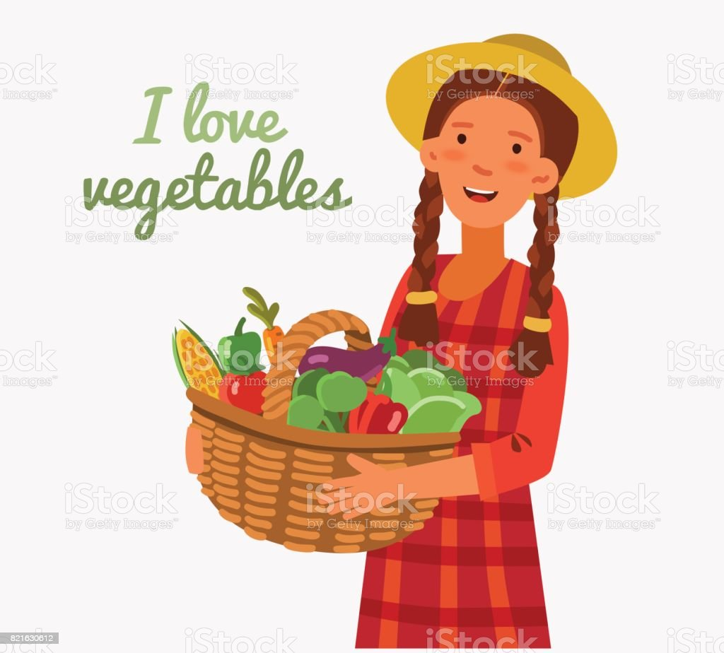 Young woman in a garden with a basket full of fresh vegetables: cabbage, pepper, tomato, carrot, corn, broccoli and eggplant in cartoon style vector art illustration