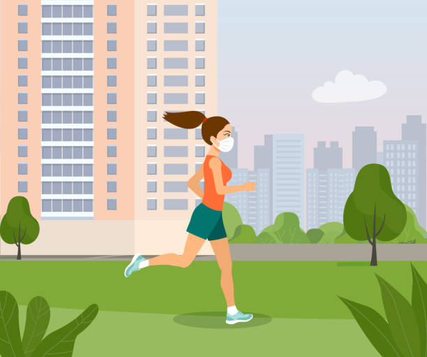 Young woman in a medical mask runs through the park. Vector flat style illustration. vector art illustration