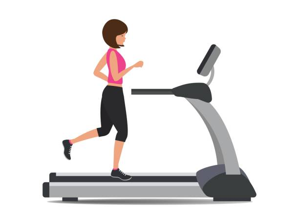 Young woman in a sporty uniform is running on a treadmill Young woman in a sporty uniform is running on a treadmill. Vector illustration. exercise machine stock illustrations