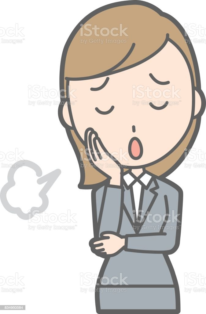 A young woman in a suit sighs illustration vector art illustration