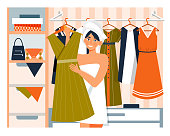 Young woman in a walk-in wardrobe selecting clothes to wear for the day holding up a dress on a hanger in a Daily Life concept , vector cartoon illustration