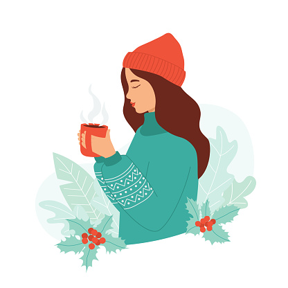 Young woman in a warm sweater and hat holds a mug of hot drink in her hand. Cozy winter concept, cute greeting card, invitation, sticker. Vector illustration