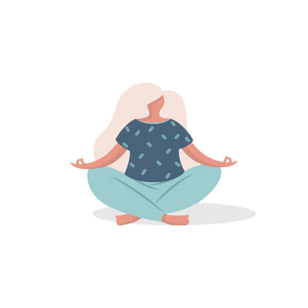 Young woman in a yoga pose vector illustration Vector illustration, woman character sitting in a yoga pose in a modern flat style. meditation stock illustrations
