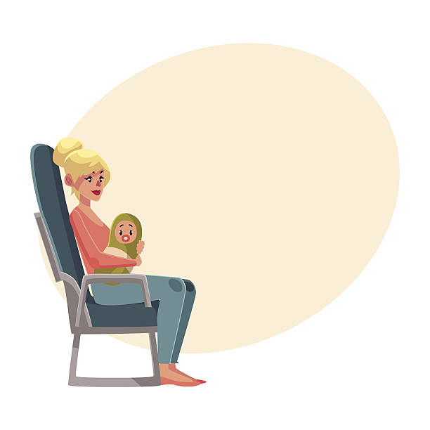 young woman in airplane seat, economy class, holding little baby - airplane seat stock illustrations