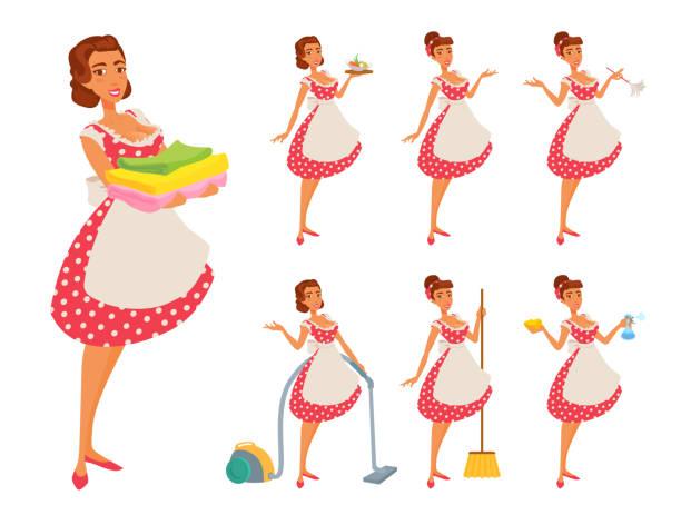 エプロンと点線の赤いドレスを着た若い女性が家を掃除し、料理をして、何かを見せてくれます。 - 楽しい 洗濯点のイラスト素材/クリップアート素材/マンガ素材/アイコン素材