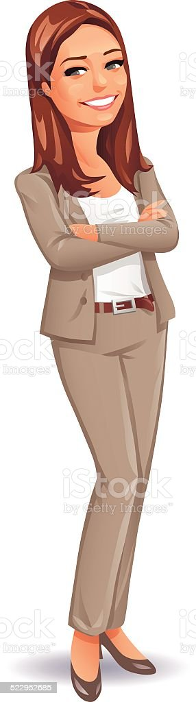 Young Woman In Business Suit vector art illustration