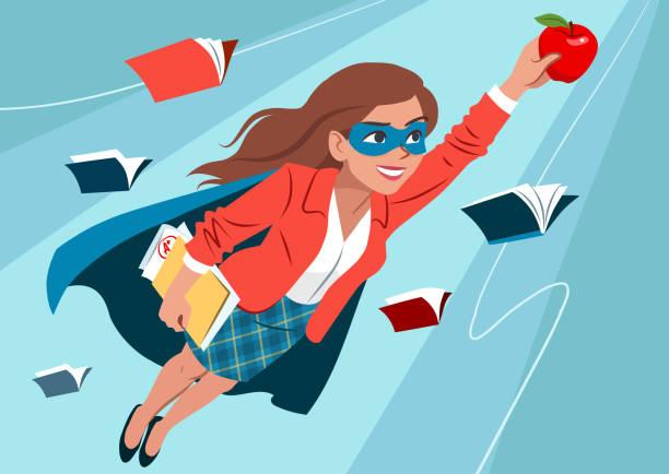 ilustrações, clipart, desenhos animados e ícones de jovem mulher na capa e máscara voando pelo ar em pose de super-herói, olhar confiante e feliz, segurando uma maçã e uma pasta com papéis, abrir livros por aí. professor, estudante, aprendendo o conceito de educação - professor