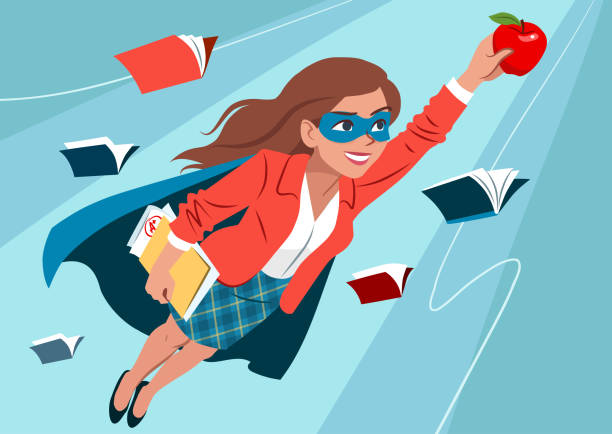 Young woman in cape and mask flying through air in superhero pose, looking confident and happy, holding an apple and folder with papers, open books around. Teacher, student, education learning concept vector art illustration