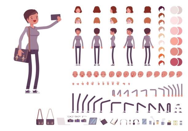 Young woman in casual clothes. Character creation set Young woman, casual clothes. Character creation set. Full length, different views, emotions, gestures, isolated against white background. Build your own design. Cartoon flat-style vector illustration skinny pants stock illustrations
