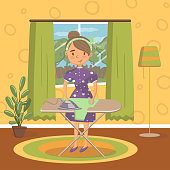 Young woman in casual clothing ironing clothes on an ironing board in living room, vintage cozy home interior vector Illustration