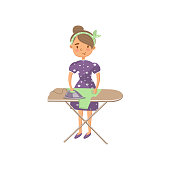 Young woman in casual clothing ironing clothes on an ironing board, housewife in housework activity cartoon vector Illustration
