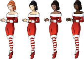 Young woman in Christmas costume elf 4 races