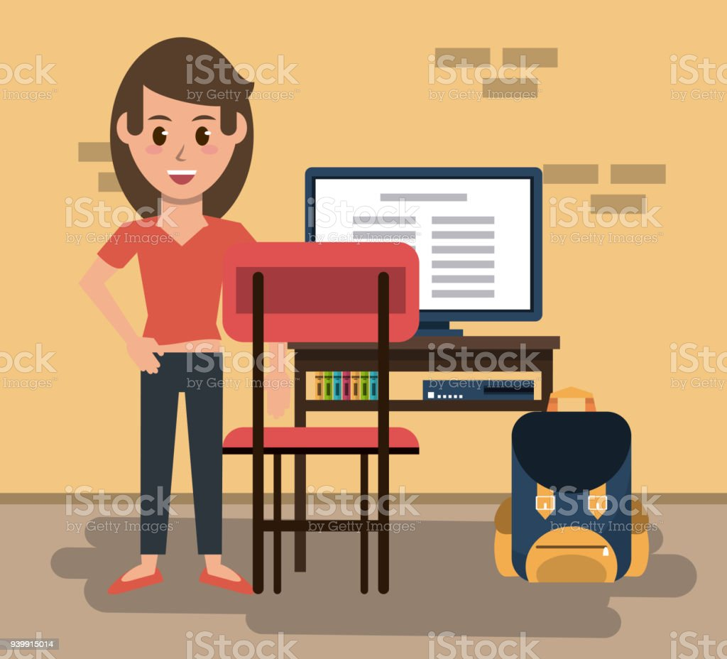 Young woman in classroom vector art illustration