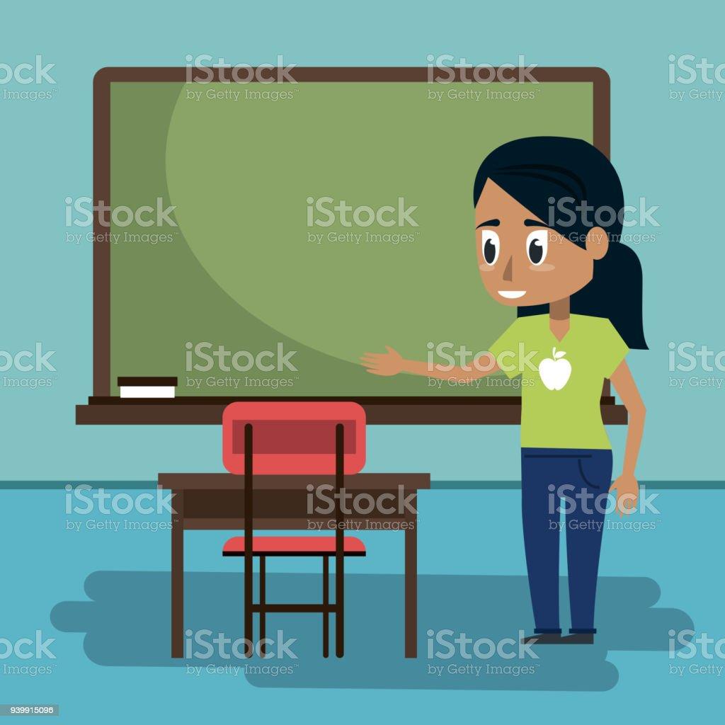 Ilustración de Mujer Joven En Salón De Clases y más banco de ...