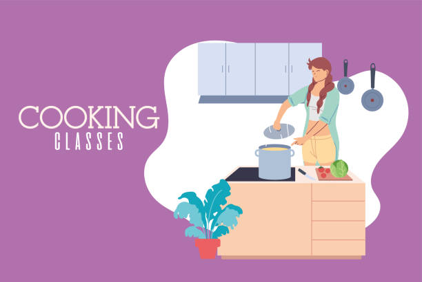 young woman in cooking class preparing delicious soup - busy restaurant kitchen stock illustrations