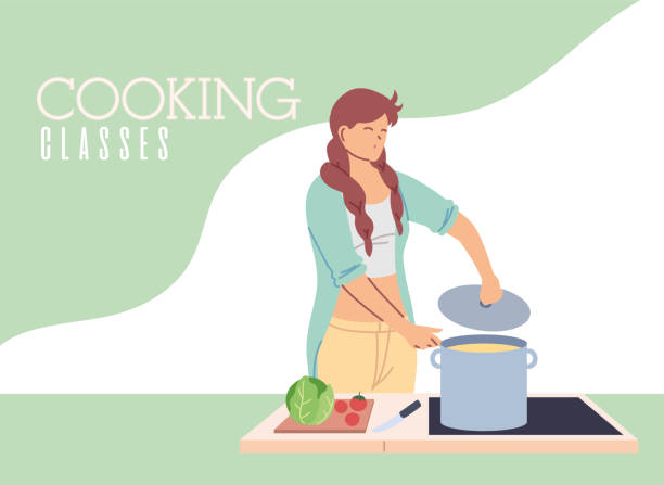 young woman in cooking classes - busy restaurant kitchen stock illustrations