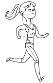 Vector Young Woman in exercise running