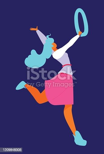 Young woman in flat style dancing with letter O or number 0. Isolated on blue background bright character.