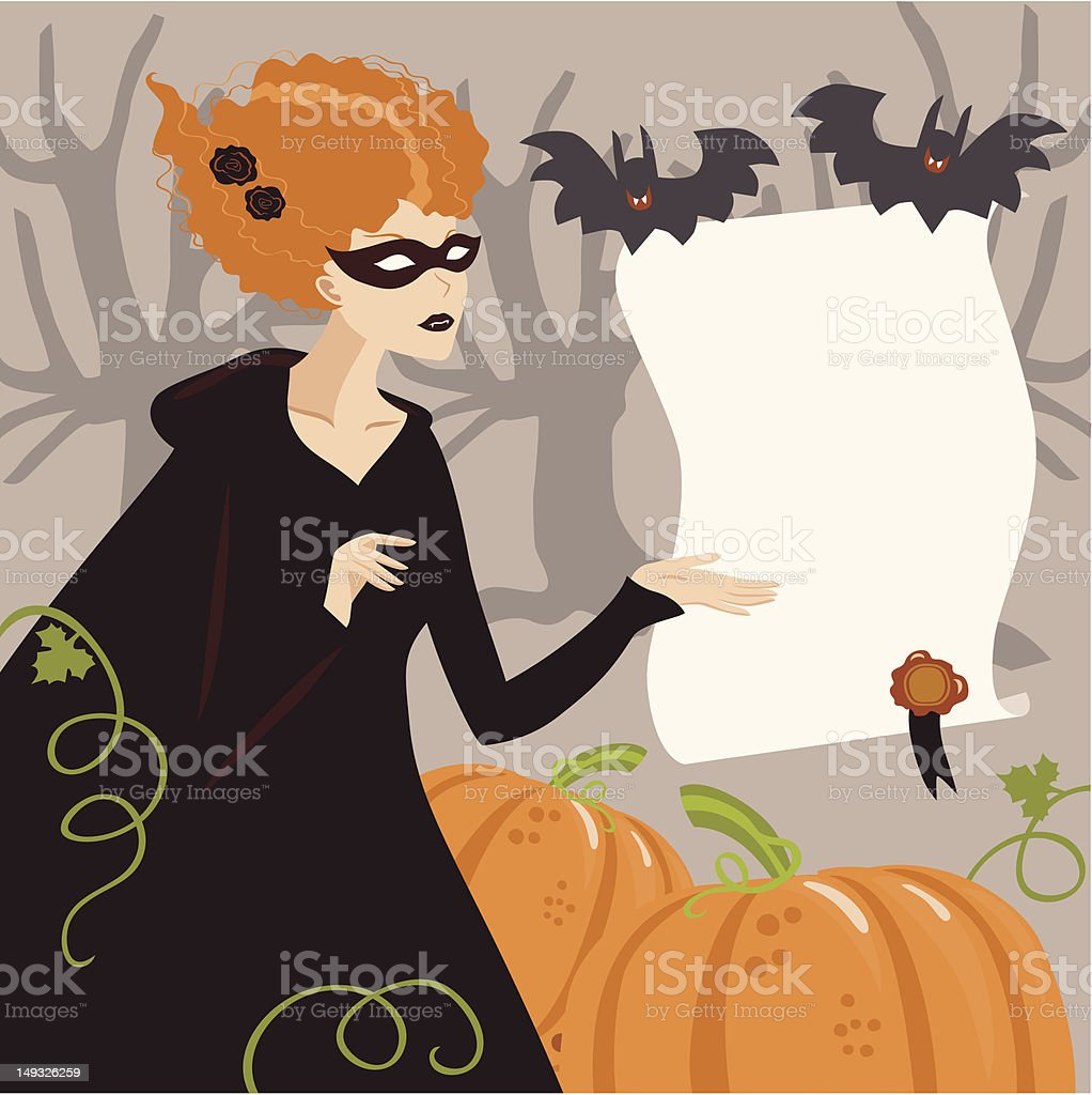 Young Woman in Halloween Witch Costume royalty-free stock vector art
