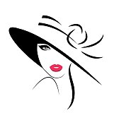 Young Woman in hat. Vector illustration
