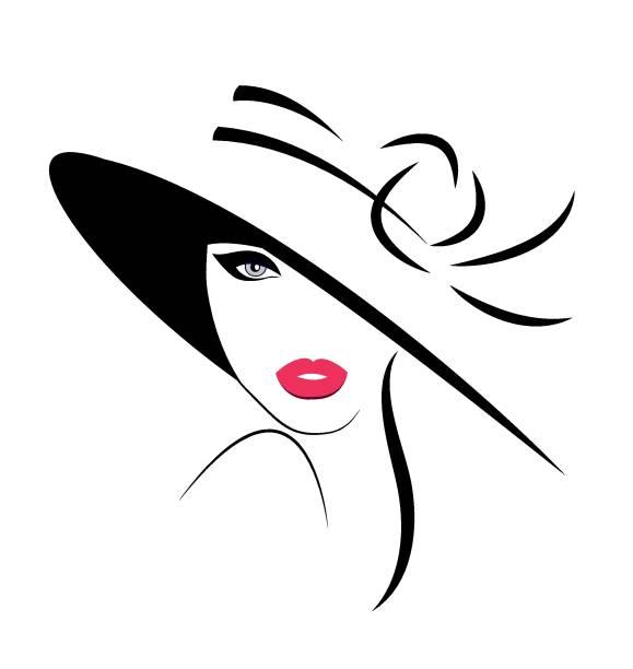 ilustraciones, imágenes clip art, dibujos animados e iconos de stock de mujer joven con sombrero - moda de mujer