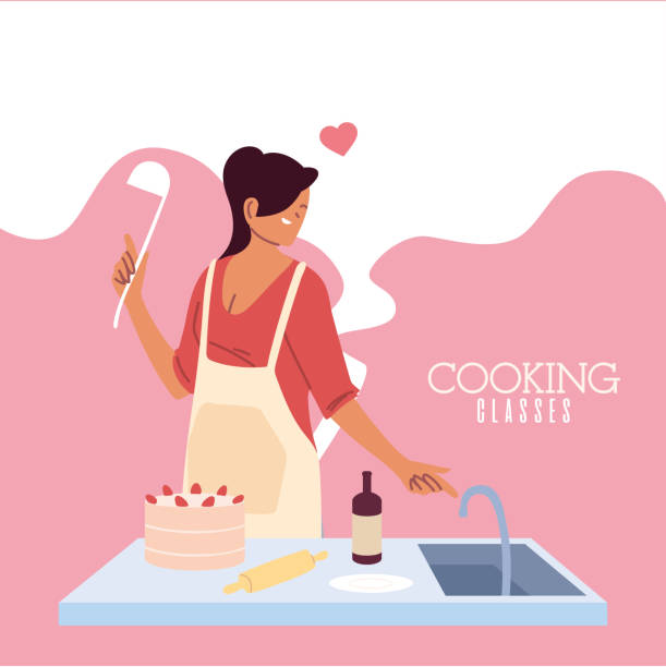 young woman in love cook preparing a cake - busy restaurant kitchen stock illustrations