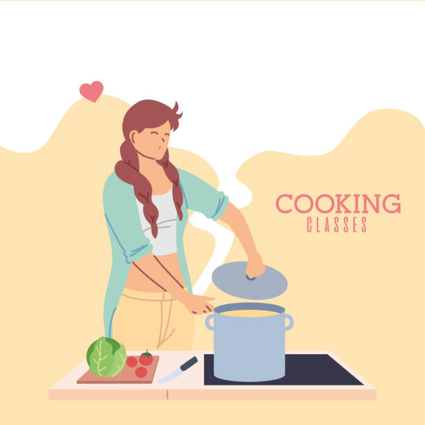 young woman in love in cooking classes - busy restaurant kitchen stock illustrations