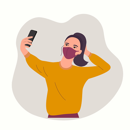 Young woman in mask taking selfie isolated.Vector flat style  illustration