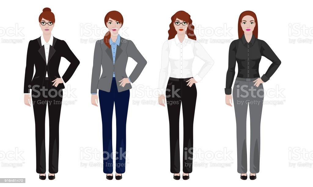 Junge Frau Im Burooutfit Geschaftsfrau Look Vektorillustrationset Stock Vektor Art Und Mehr Bilder Von Anzug Istock