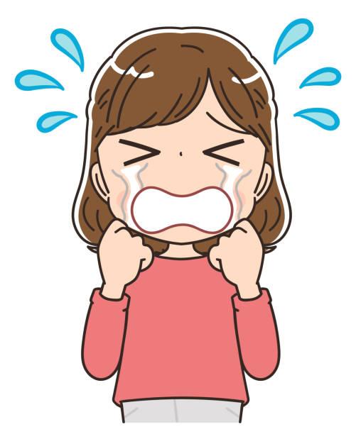 赤い服を着た若い女性。彼女は泣いている。 - 泣く点のイラスト素材/クリップアート素材/マンガ素材/アイコン素材