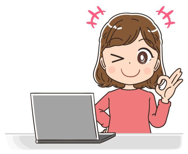 赤い服を着た若い女性。彼女はラップトップコンピュータを使います。 - 大学生 パソコン 日本点のイラスト素材/クリップアート素材/マンガ素材/アイコン素材