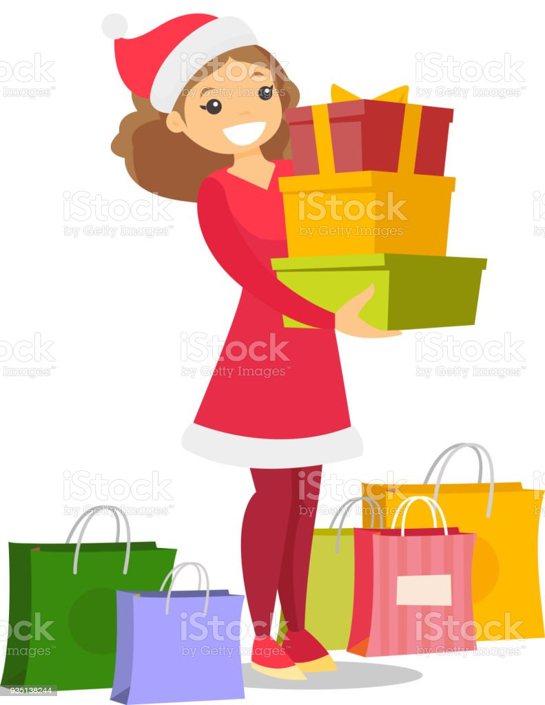 3d134e368972 Ilustración de Mujer Joven Con Sombrero De Santa Comprando Regalos De  Navidad y más Vectores Libres de Derechos de Adicto a las compras