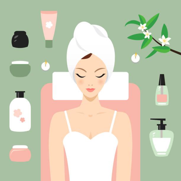 ilustrações, clipart, desenhos animados e ícones de jovem mulher no spa - tratamentos de beleza