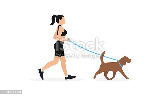 istock Young woman in sportswear running with dog on leash, isolated on white background 1266490095