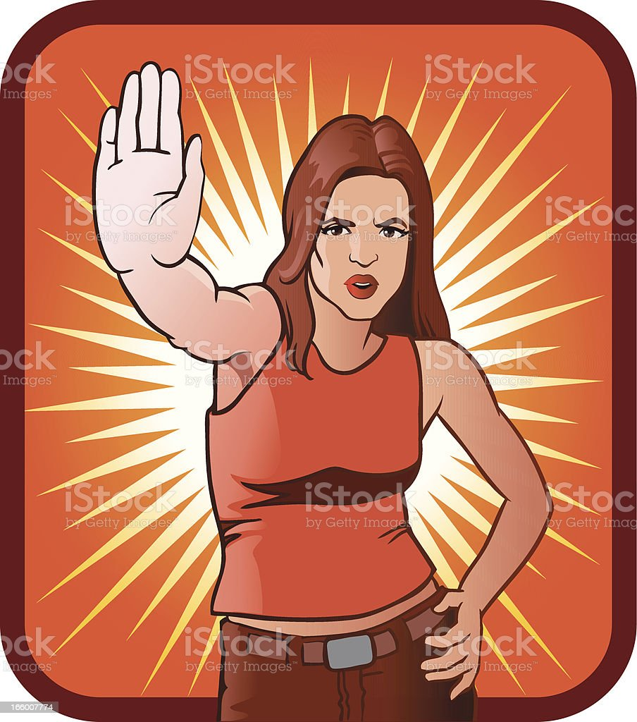 Young Woman in Stop Gesture vector art illustration
