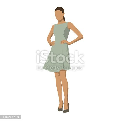 istock Young woman in summer dress, geometric flat design vector illustration 1162177189